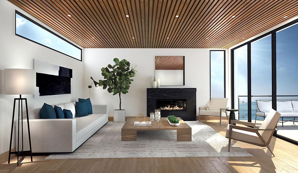 Studio Blu Inc, 3D rendering, Manhattan beach livingroom,fig tree,wood ceiling