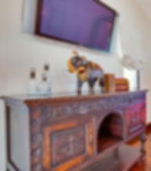 Studio Blu Inc, Spanish style console, Unique TV center, Spanish style interiors