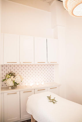 Studio Blu Inc, Westchester CA. interior designer, Westchester CA. Pilates Studio, White fresh interiors, Massage room, custom wall paper, Wicker light, Mamai Wellness