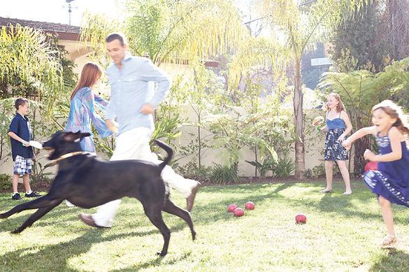 Family in Hermosa Beach backyard