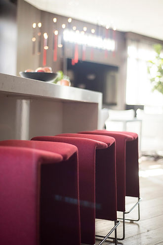 studio blu inc, red counter stools, B&B Italia, Modern kitchen