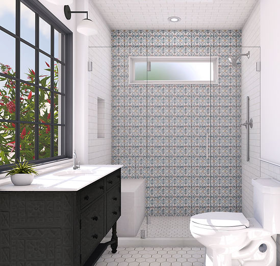 Studio blu Bathroom 3D spanish style, beautiful tile, black batroom cabinet,