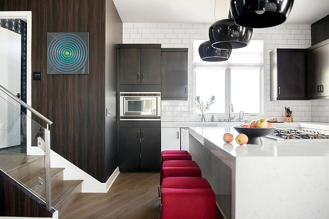 Studio blu inc, custom home, white subway tile, dark bown kitchen cabients, watefall island
