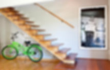Studio blu inc, green bike, modern wood stairs, refurbished bowling floors