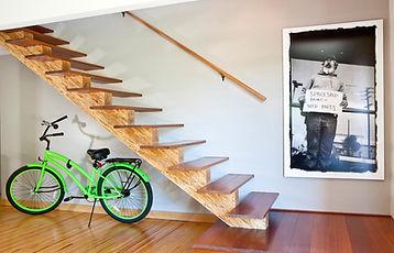 Studio blu inc, green bike, modern wood stairs, refurbished bowling floors