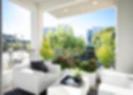 studio blu inc, balcony furniture, modern balcony, white furniture, Playa vista interior designer