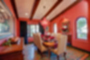 Studio Blu Inc, Dining room, Spanish style dining room, Pottery barn Chairs, Tile floor, Red Dining room,