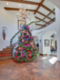 Studio Blu Inc, Studio Blu, Christmas tree, Spanish style Foyer, Hermosa Beach Christmas, hexagon tile, Spanish tile on risers,