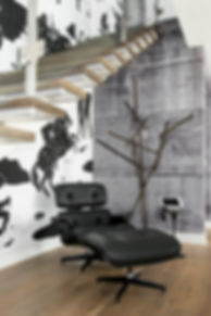 Studio blu inc, glass railings, concrete wall paper, modern sitting area
