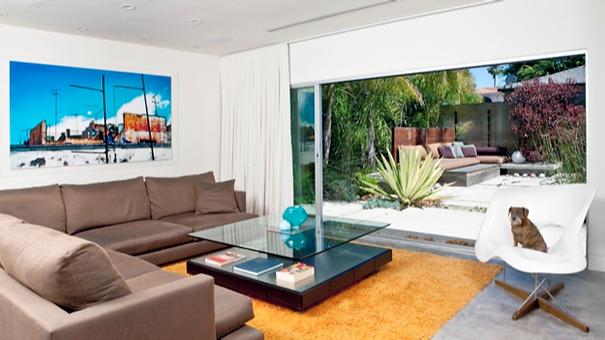 Studio Blu Inc, Venice CA, Midcentury modern, Orange rug, Brown sofa, Modern Coffee table, Ripple fold drapes, Venice Interior designer, orange rug, brown sectional