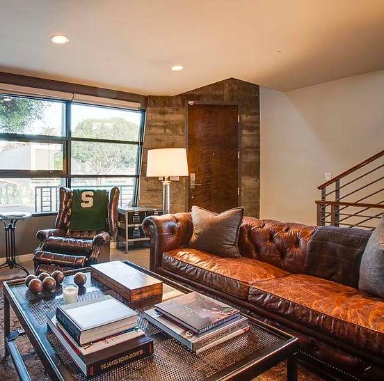 Studio Blu Inc, leather tufted sofa,Venice CA. livng room