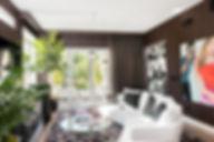 Studio Blu, white leather sofa,moder B&B Italia, Modern drapes, glass coffee table, Playa Vista, CA. modern living room, modern drapes,