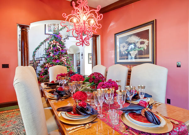 Studio Blu Inc, Dining room, Red dining room, Christmas dining room, Pottery barn dining chairs, Gold dinner ware