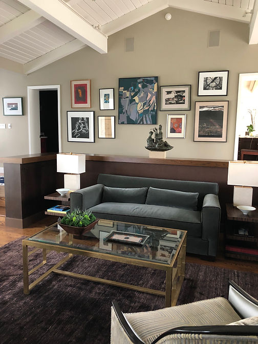 Studio Blu Inc, Hemp Rug,Century Coffee table, tounge and groove ceiling, Manhattan beach interior designer, Sea grass wall paper, Traditional home, Warm autumn colorway, Traditional Living room, Donghia Sofa