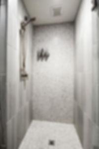 grey shower, custom home bathroom