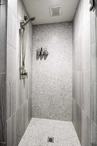 grey shower, custom home bathroom
