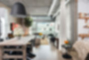 Studio Blu Inc, CB2 light, Urban interiors, Chinese wood kitchen table, concrete ceilings, Loft