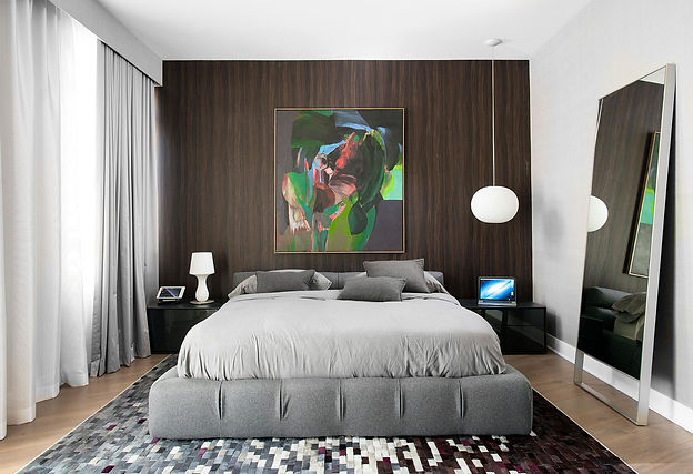 master bedroom, LA interiors, wood wall paper, modernbedroom, grey bedding, B&B Italia bed, Hide rug,