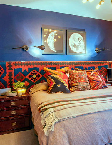 Studio Blu Inc, South West style Bedroom, Kilim rug headboard, custom head board, kilim rug pillows, the moon prints