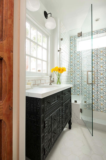 Hollywood bathroom remodel, spanish style bathroom, handmade tile, tabarkastudio, Maghreb 8