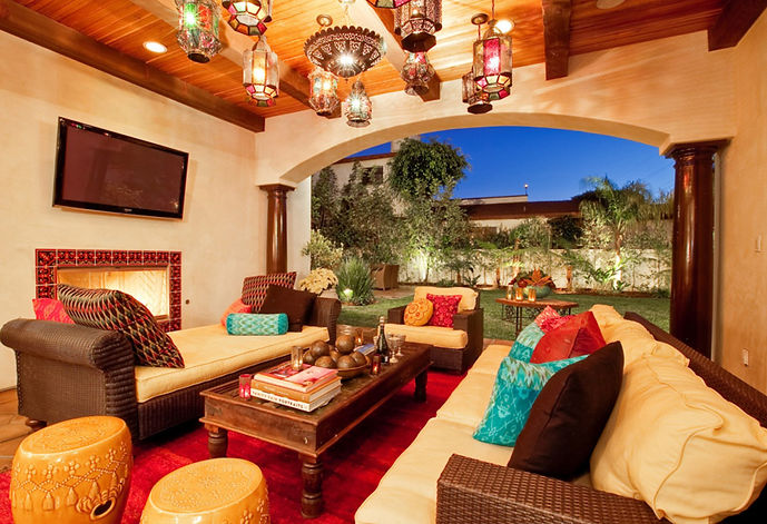 Studio Blu Inc, Outdoor TV room, Colorful room, Moroccan style, Spanis style, Wicker furniture, Ikat Pillows