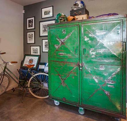 studio blu inc, kelly green, vintage cabinet