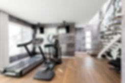 concrete wall paper, astek wall paper, home gym, playa vista interior designer