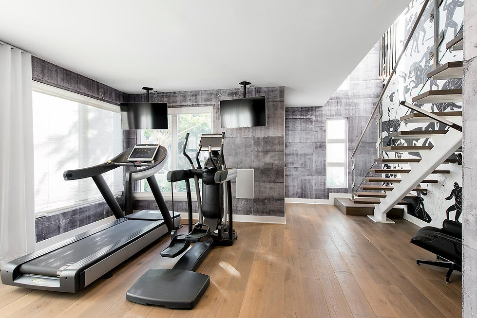 concrete wall paper, astek wall paper, home gym, playa vista interior designer