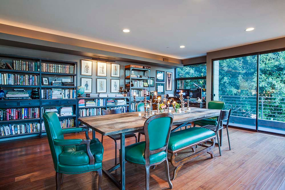 Studio Blu Inc, Green leather dining chairs, reclaimed woodtable,library dining room,Venice California