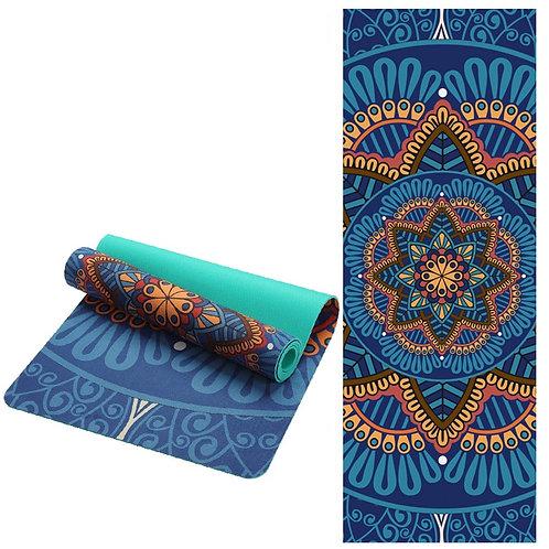 Lotus Pattern Suede TPE Yoga Mat Pad Non slip