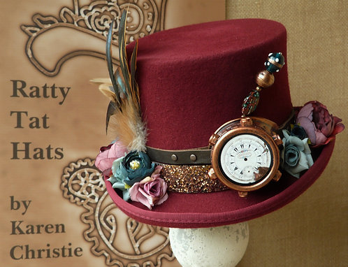 Lady's Steampunk top hat in ruby or cranberry red with turquoise accents