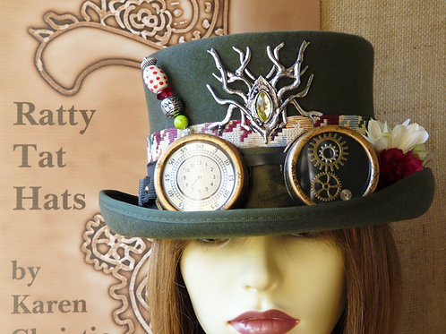Lady's olive green Steampunk top hat with goggles