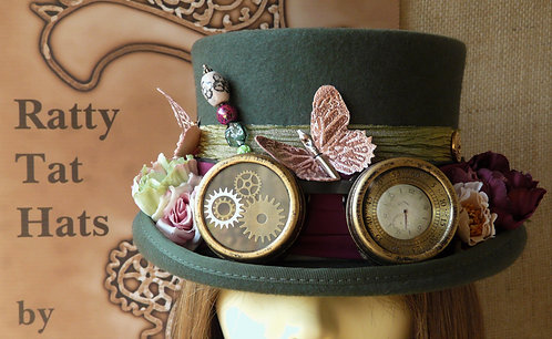 Ladys Steampunk Hat with Butterflies and Goggles in Olive Green, Maroon and Pinks