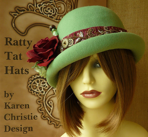 Lady's Pale Green Cloche Hat with Sari Trim, Handmade, One of a Kind, 100% Wool Felt, The Cynthia Westcott by Ratty Tat Hats