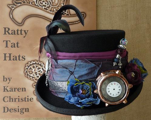 Lady's Delphinium blue and purple Steampunk hat with mono-goggle