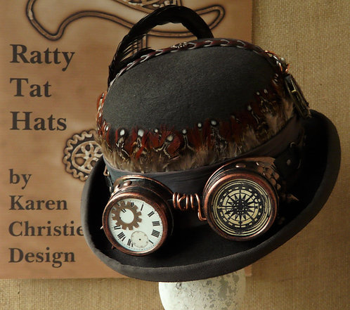 Brown Steampunk Bowler or Derby Hat with Goggles, Wayward by Ratty Tat Hats