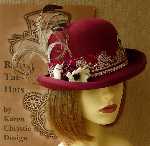 Lady's burgundy red Steampunk style bowler or Derby hat with beaded vintage sari trim, Tomanolly by Ratty Tat Hats
