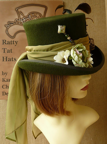 Lady's olive green Victorian equestrian style top hat with tiny gilded birdcage, Little |Dove by Ratty Tat Hats
