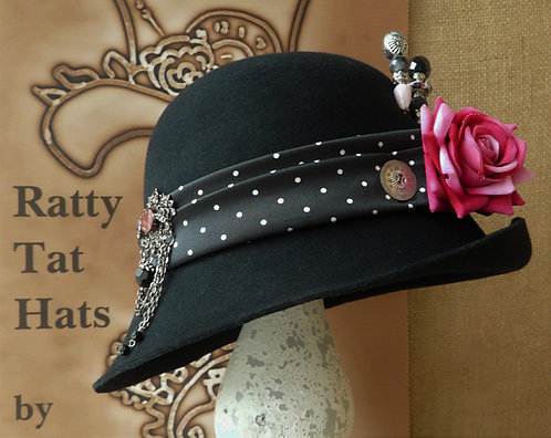 Lady's Black Cloche Hat, Handmade, One of a Kind, 100% Wool Felt, The Norah Lindsay by Ratty Tat Hats