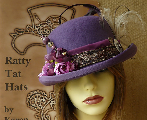 Lady's purple Steampunk style bowler or Derby hat with beaded sari trim. The Bronze Peacock by Ratty Tat Hats