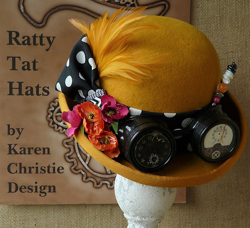 Lady's saffron yellow Steampunk style bowler or Derby hat with polka dot fabric and goggles, Sundance by Ratty Tat Hats
