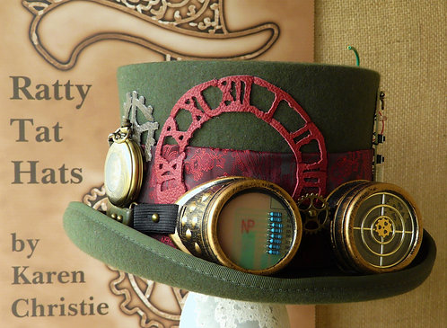 Olive Green Gents Steampunk Top Hat with Mechanical Pocket Watch, Bytes and Pieces by Ratty Tat Hats