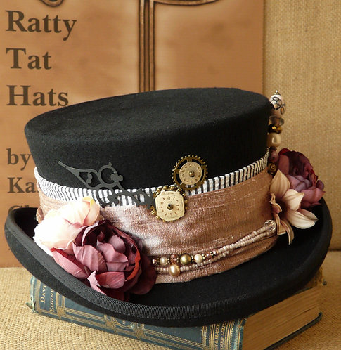 Lady's Steampunk or Neo-Victorian riding hat style topper