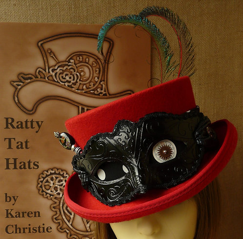 Lady's red masquerade masked Deadman or low crown top hat with polka dot fabric, train and rose. Mardi Gras by Ratty Tat Hats