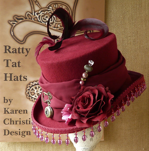 Claret Red Ladys Steampunk Top Hat, Cherry Drop by Ratty Tat Hats