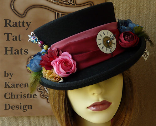 A bride's custom hat, Hearts & Flowers by Ratty Tat Hats