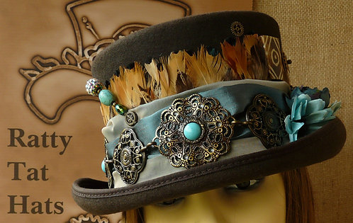 Lady's brown and turquoise Steampunk hat with South West, The Pony Express by Ratty Tat Hats