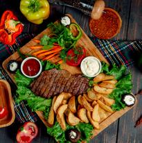 Well-done steak and homemade potatoes