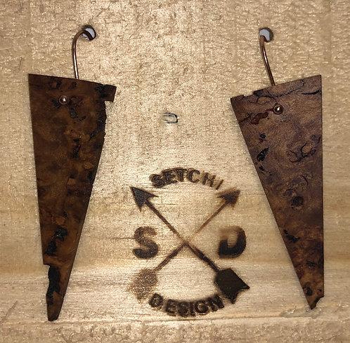 Wooden Burl Earrings