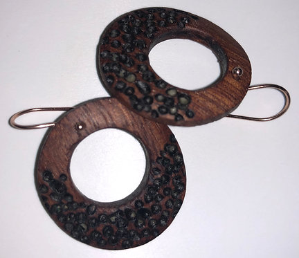 Textured Wooden Earrings